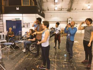 The cast of Tommy in rehearsals, image captured by cast blogger Natasha Lewis