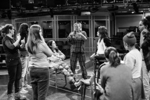 Jenny Sealey in action directing The House of Bernarda Alba rehearsals