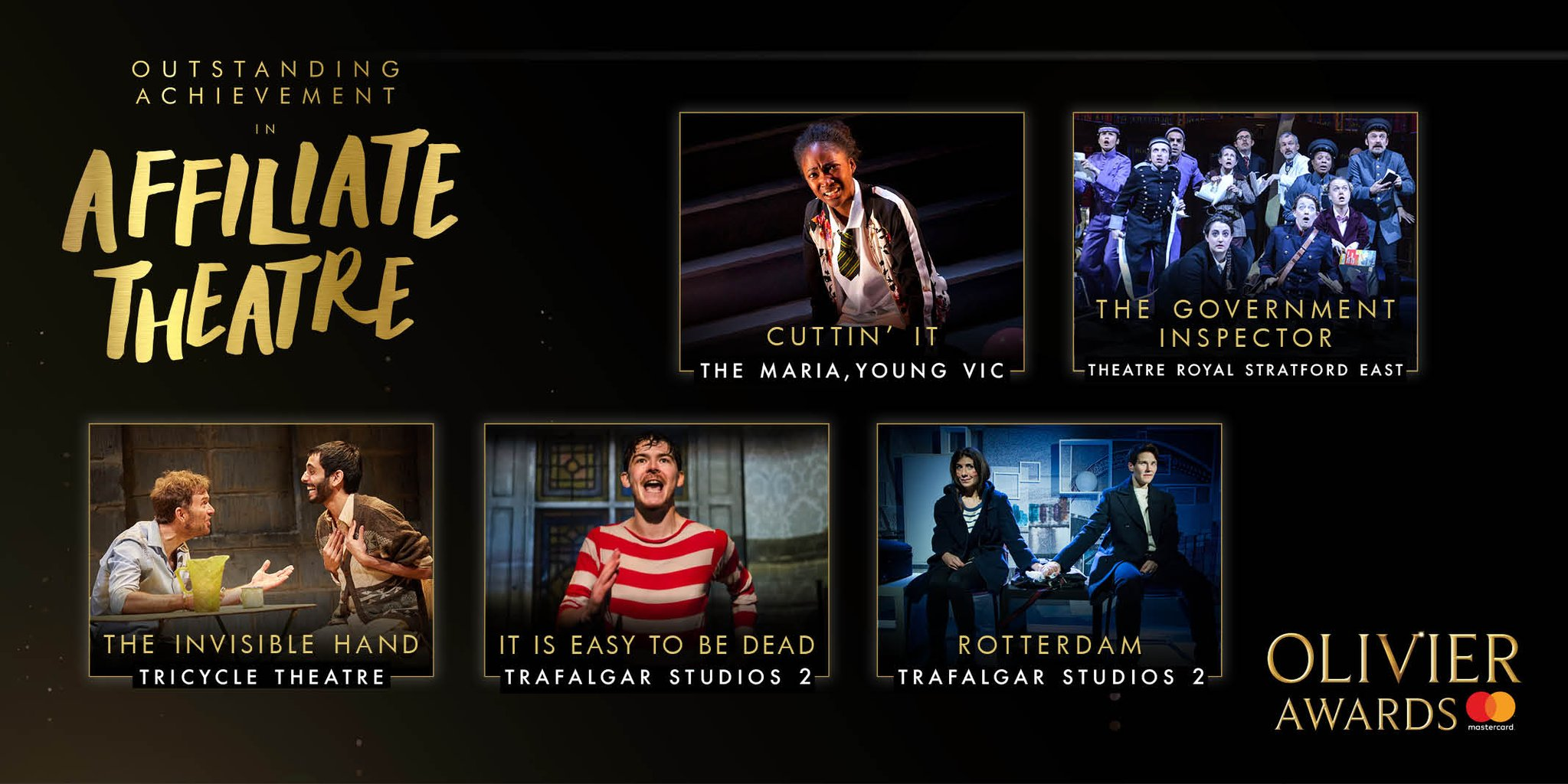 The Nominees for the Olivier Award Outstanding Achievement in an Affiliate Theatre